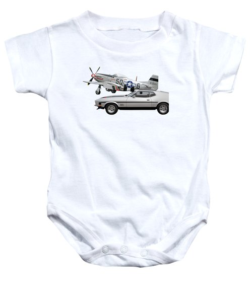Mach 1 Mustang With P51  Baby Onesie