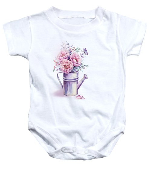 Baby Onesie featuring the painting Pink Peonies Blooming Watercolour by Georgeta Blanaru