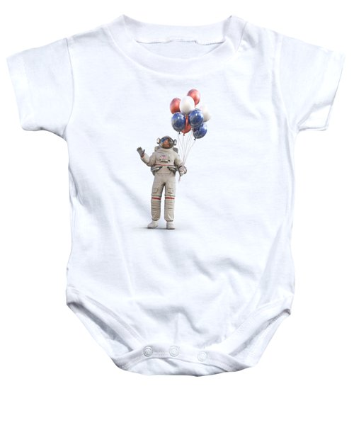 Astronaut With Happy Balloons  Baby Onesie