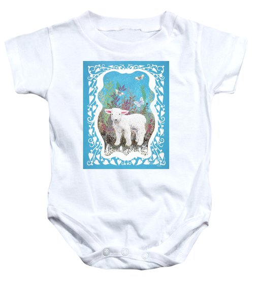 Baby Lamb With White Butterflies Baby Onesie