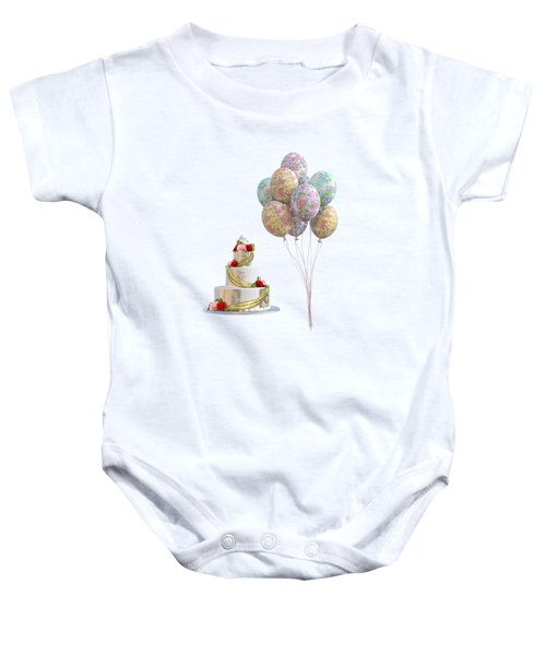 Balloons And Cake Baby Onesie