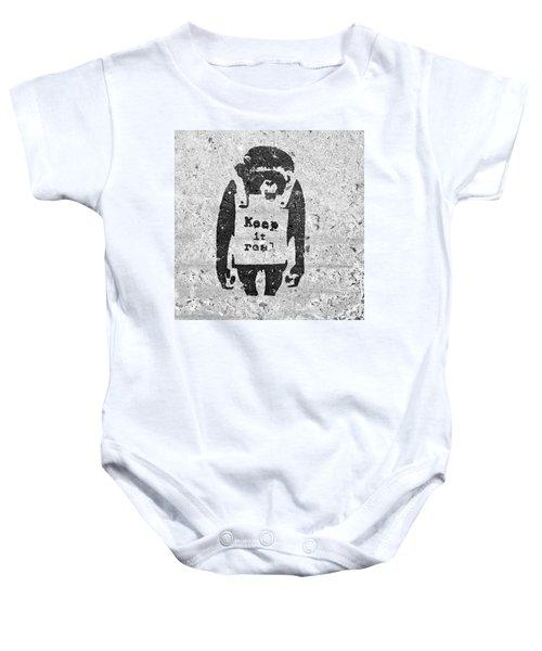 Banksy Chimp Keep It Real Baby Onesie