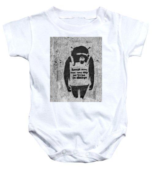 Banksy Chimp Laugh Now Graffiti Baby Onesie