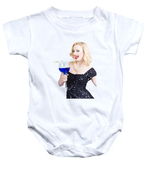 Beautiful Blonde Enjoying A Classy Cocktail Event Baby Onesie