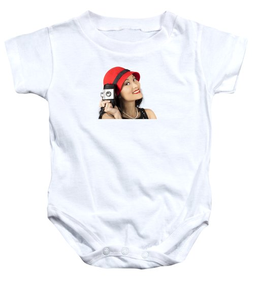 Beautiful Chinese Woman Holding Old Film Camera Baby Onesie