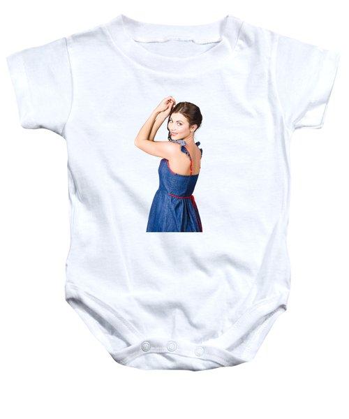 Beautiful Pin Up Woman. Rockabilly Retro Fashion Baby Onesie