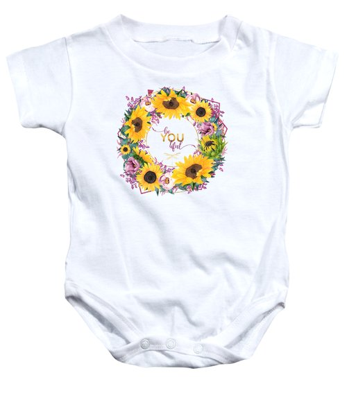 beYOUtiful floral wreath typography art Baby Onesie
