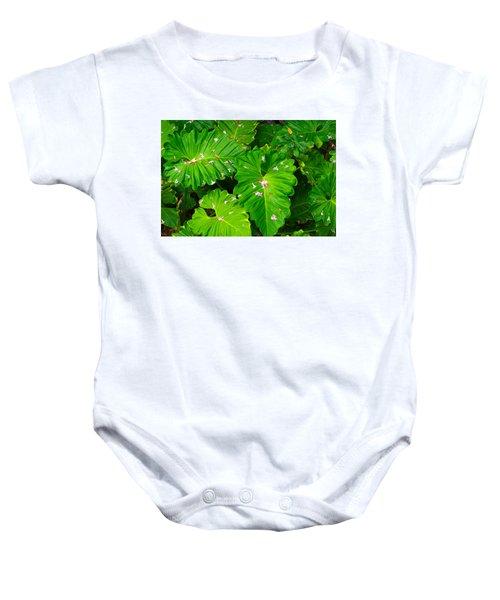 Big Green Leaves Baby Onesie