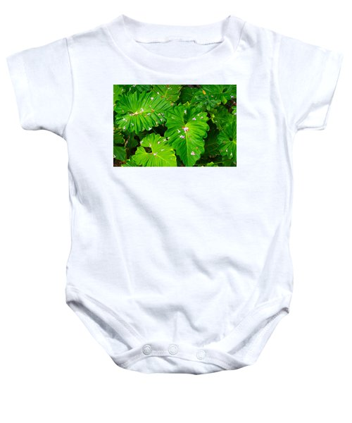 Big Green Leaves Baby Onesie