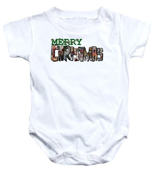 Big Letter Merry Christmas Baby Onesie