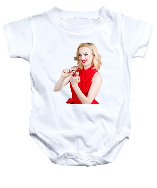 Blond Pinup Woman In Red Dress Making Manicure Baby Onesie