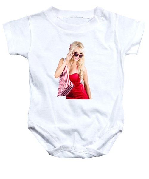 Blond Woman Shopping Baby Onesie