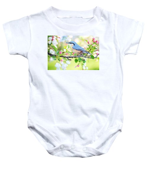 Blue Orange Bird Baby Onesie