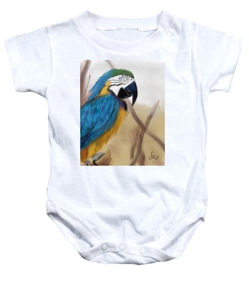 Baby Onesie featuring the digital art Blue Parrot by Fe Jones