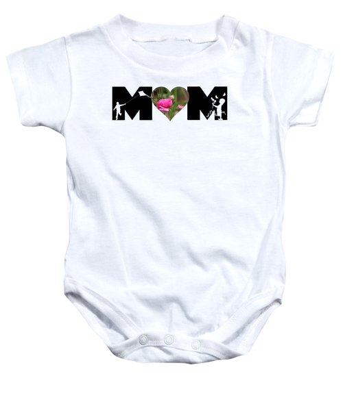 Boy And Girl-pink Ranunculus In Heart Mom Big Letter Baby Onesie