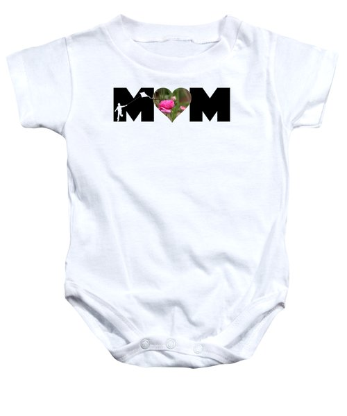 Boy Silhouette And Pink Ranunculus In Heart Mom Big Letter Baby Onesie