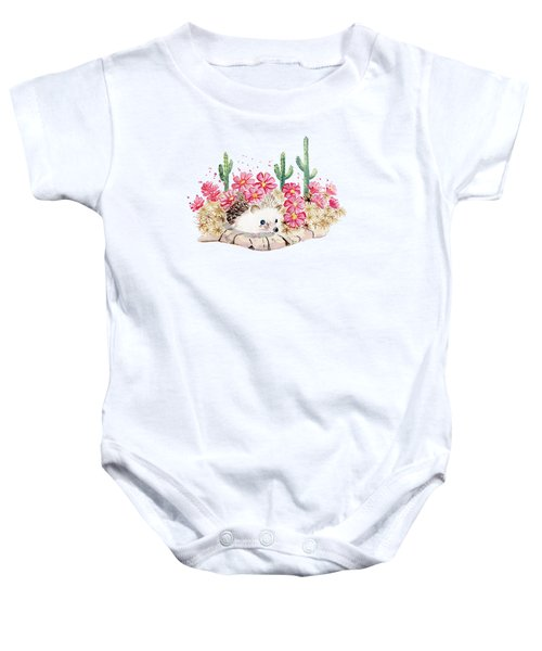 Camouflage - Hedgehog And Cactus Baby Onesie