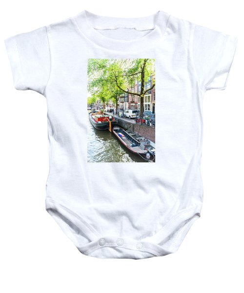 Canal Boats In Amsterdam Baby Onesie
