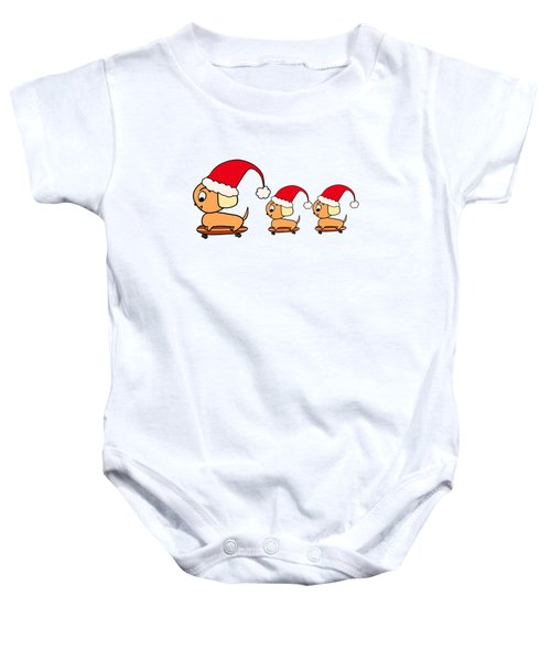 Christmas Dogs On Skateboards Baby Onesie
