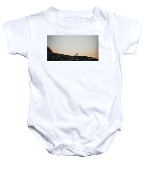 Church On Top Of A Hill And Under A Mountain, With The Moon In The Background. Baby Onesie