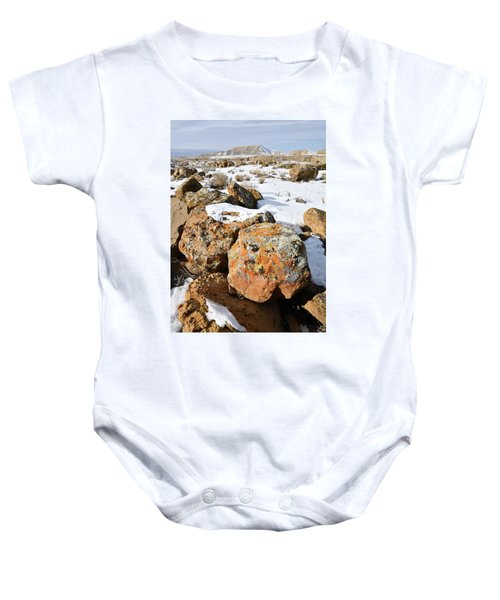 Colorful Lichen Covered Boulders In Book Cliffs Baby Onesie
