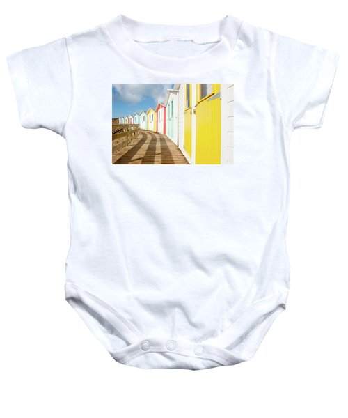 Colourful Bude Beach Huts Baby Onesie