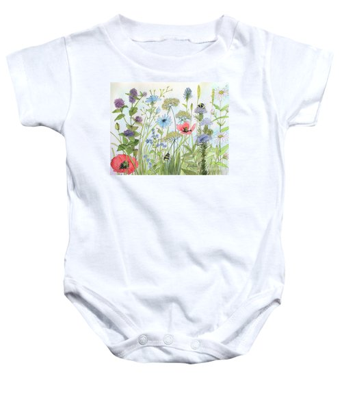 Cottage Flowers And Bees Baby Onesie