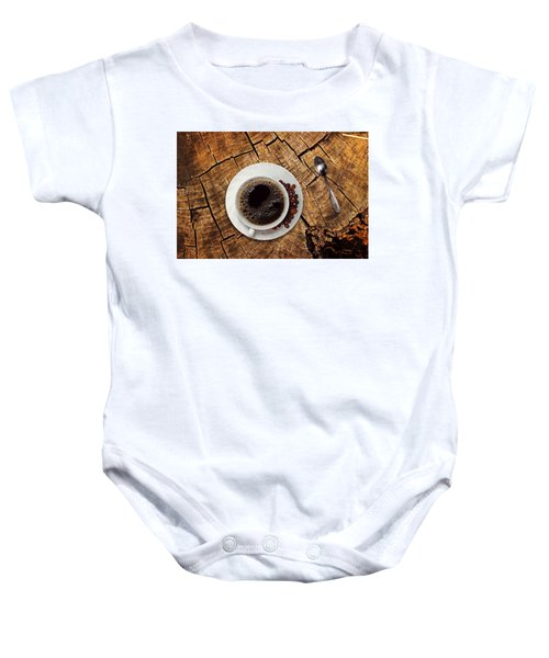 Cup Of Coffe On Wood Baby Onesie