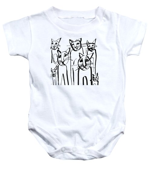 Curious Cats-  Art By Linda Woods Baby Onesie