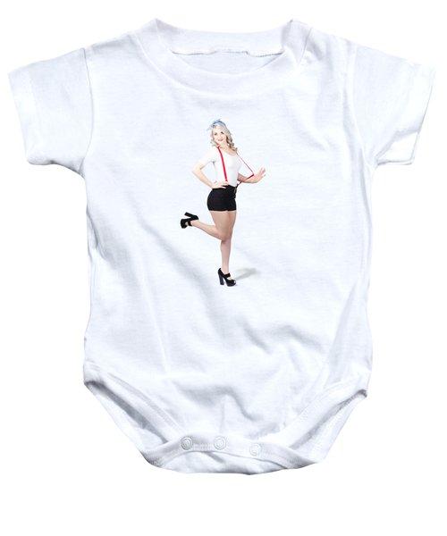 Cute Full Length Pinup Girl. Pinup Footwear Baby Onesie