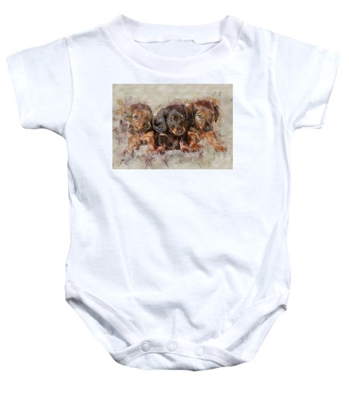 Dachshund Three Puppies Baby Onesie