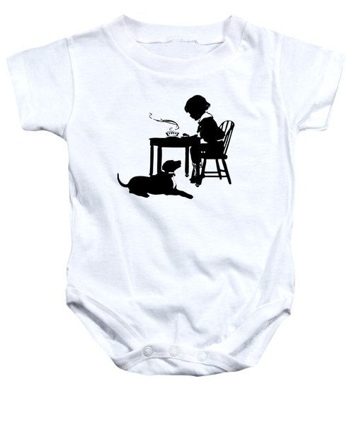 Dining With The Dog Silhouette Baby Onesie