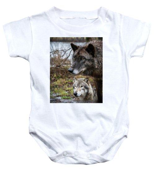 Dual Wolves Baby Onesie
