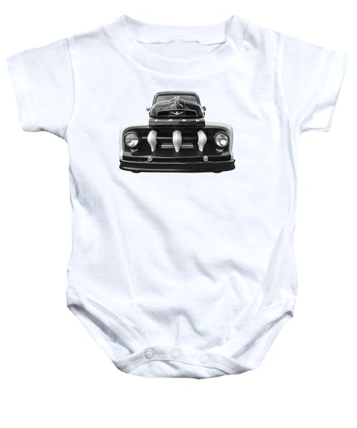 Early Fifties Ford V8 F-1 Truck In Black And White Baby Onesie