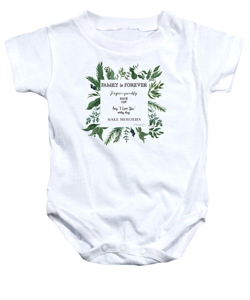 Emerald Wild Forest Foliage 3 Watercolor Baby Onesie
