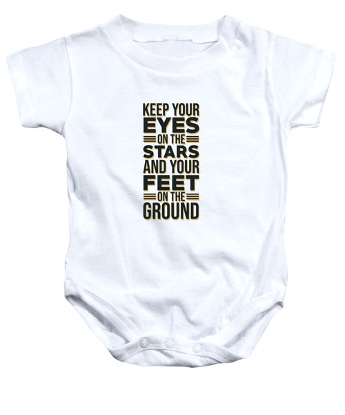 Eyes On The Stars 2 - Motivational, Inspirational Quotes - Minimal Typography Poster Baby Onesie
