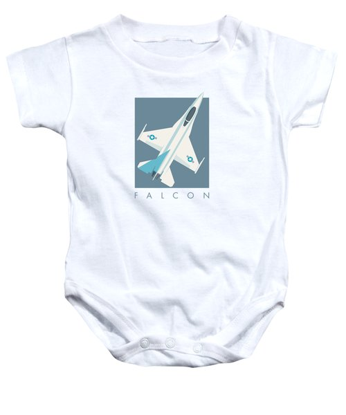 F-16 Falcon Fighter Jet Aircraft - Slate Baby Onesie