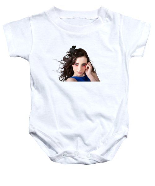 Face Of A Female Beauty With Red Eye Make Up Baby Onesie