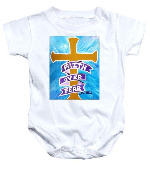 Faith Over Fear Cross  Baby Onesie