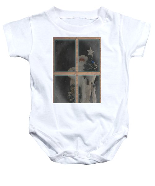 Father Christmas In Window Baby Onesie