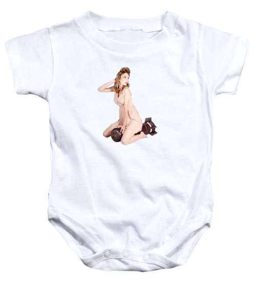 Female Pinup Bombshell On 50s Military War Missile Baby Onesie