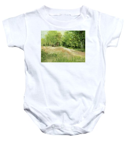 Woodland Trees And Dirt Road Baby Onesie