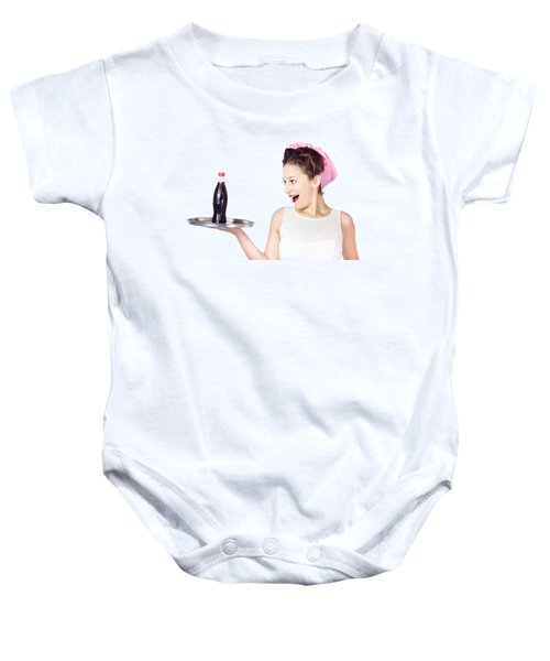 Fifties Style Female Waiter Serving Up Soda Baby Onesie