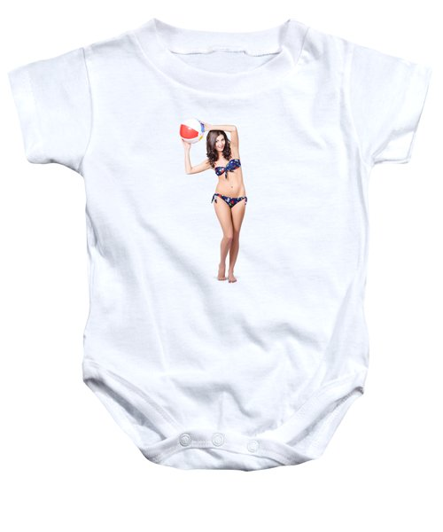 Fit And Active Girl In Bikini With Beach Ball Baby Onesie