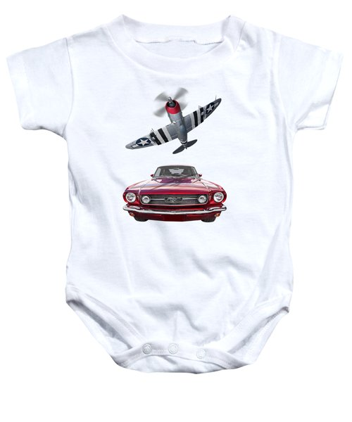 Fly Past - 1966 Mustang With P47 Thunderbolt Baby Onesie