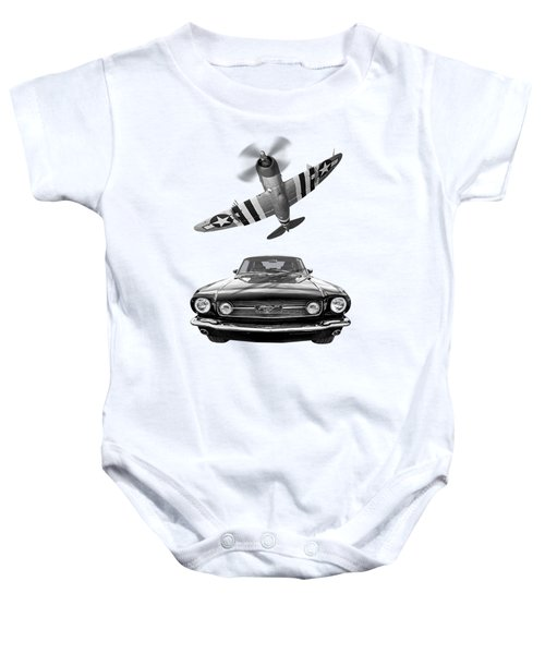 Fly Past - 1966 Mustang With P47 Thunderbolt In Black And White Baby Onesie
