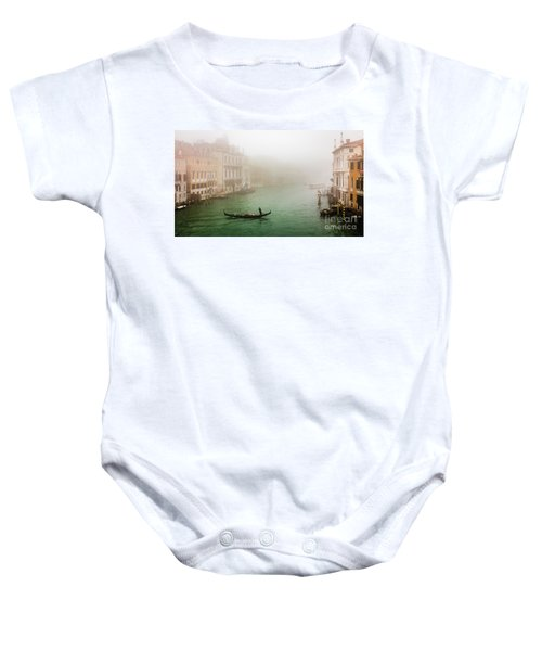 Foggy Morning On The Grand Canale, Venezia, Italy Baby Onesie