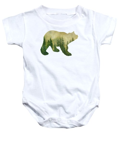 Forest Black Bear Silhouette Baby Onesie