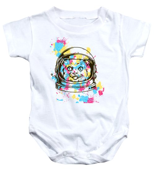Funny Colorful Cat Astronaut Baby Onesie