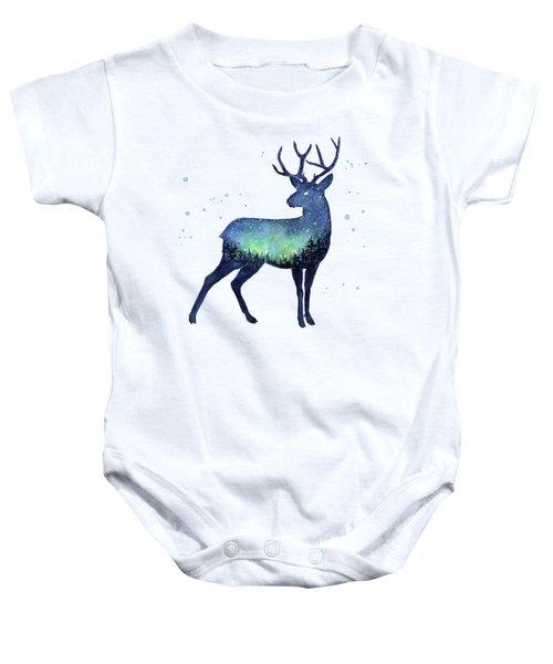 Galaxy Reindeer Silhouette Baby Onesie